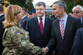 President of ukraine poroshenko and nato secretary general jens lviv sep petro stoltenberg during a visit to the teachings Royalty Free Stock Images