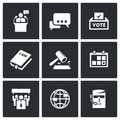 Presidential candidate and elections icons set. Vector Illustration.