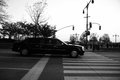 Presidential limousine nyc with president obama Stock Photo