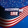 Presidents` Day Sale banner with american flag and stars background.