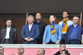 The presidents of three football clubs in ukraine before match between shakhtar donetsk vs metalist kharkiv ukrainian Stock Photography