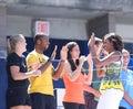 Presidentsvrouw michelle obama door professionele tennisspelers in arthur ashe kids day in billie jean king national tennis center Royalty-vrije Stock Foto