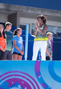 Presidentsvrouw michelle obama door professionele tennisspelers in arthur ashe kids day in billie jean king national tennis center Stock Afbeelding