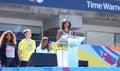 Presidentsvrouw michelle obama encourages kids om actief te blijven in arthur ashe kids day in billie jean king national tennis Royalty-vrije Stock Afbeeldingen