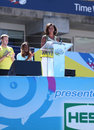 Presidentsvrouw michelle obama encourages kids om actief te blijven in arthur ashe kids day in billie jean king national tennis Stock Foto's