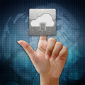 In press cloud download icon on global background Royalty Free Stock Photo