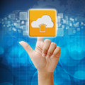In press cloud upload icon on touch screen interface Royalty Free Stock Photo