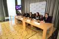 Press conference of artists and organizers of the grand presentation of our time moscow sep show judgment day in Stock Images