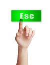 Press esc button hand isolated on white background Stock Photo