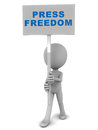 Press freedom little d man holding a banner with text on white background Stock Photography