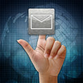In press mail icon on global background Stock Photo