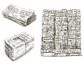 Press. Newspaper stand. Hand drawn. Royalty Free Stock Photo