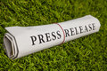 Press release on green meadow Royalty Free Stock Photography