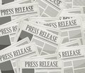 Press release newspaper illustration design over a grey background Stock Photo
