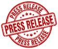 Press release red grunge round vintage stamp