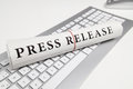 Press release written on newspaper Royalty Free Stock Photography