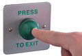 Press to exit picture of a finger pushing a button shallow depth of field with focus on ther finger tip and button isolated on Royalty Free Stock Photo