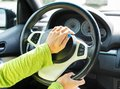 Pressing car horn woman hand on a Royalty Free Stock Photos
