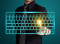 Pressing virtual type of keyboard business man Royalty Free Stock Photo