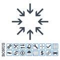 Pressure Arrows Flat Glyph Icon With Bonus