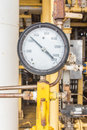 Pressure gauge in oil and gas industry Royalty Free Stock Photos