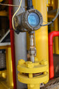 Pressure transmitter in oil and gas process send signal to controller and reading pressure the system Stock Photos