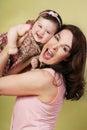Pret met Mum Stock Foto