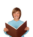 Preteen boy big book reading isolated white background Royalty Free Stock Images