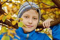 Preteen boy in fall time Stock Image