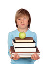 Preteen boy many books tired isolated white background Stock Photos