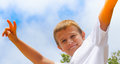 Preteen boy with victory / peace sign Royalty Free Stock Photos