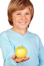 Preteen boy yellow apple isolated white background Royalty Free Stock Image