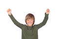 Preteen celebrating something isolated on a over white background Stock Photography