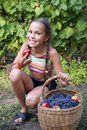 Preteen girl with apples Royalty Free Stock Photos