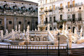 Pretoria square, baroque fountain statues. Palermo Stock Photo