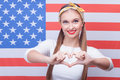 Pretty American girl is expressing positive emotions Royalty Free Stock Photo