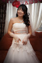 Pretty asian bride with garter Royalty Free Stock Image