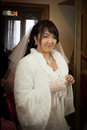 Pretty asian bride look for you Royalty Free Stock Photography