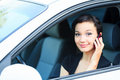 Pretty asian girl in a car Royalty Free Stock Photography