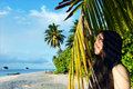 Pretty asian girl relaxing on tropical beach Royalty Free Stock Photography