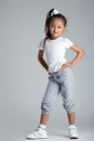 Pretty asian little girl in sportswear Royalty Free Stock Photo