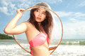 Pretty Asian woman joyfully with fishing scoop net . Stock Image