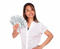 Pretty asiatic young woman with cash dollars portrait of a looking at you against white background Royalty Free Stock Images