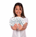 Pretty asiatic young woman with cash money portrait of a looking at you against white background Royalty Free Stock Photography