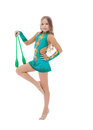 Pretty athlete in rhythmic gymnastics with mace posing Stock Photos