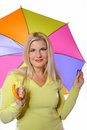 Pretty autumn woman standing under umbrella Royalty Free Stock Photo