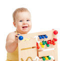 Pretty baby with color educational toy Stock Image