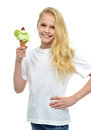 Pretty baby girl kid holding ice cream in waffles cone with stra Royalty Free Stock Photo