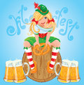 Pretty Bavarian girl with beer and pretzel, Oktoberfest card. Royalty Free Stock Photo
