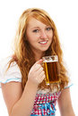 Pretty bavarian girl with a glass of beer Royalty Free Stock Images